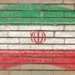 Flagge des Iran auf Grunge-Ziegelwand mit Kreide gemalt — Stockfoto