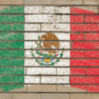 Flag of mexico on grunge brick wall painted with chalk — ストック写真