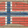 Flag of norway on grunge brick wall painted with chalk — Foto Stock