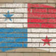 Flag of panama on grunge brick wall painted with chalk - Stock Photo