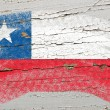 Flag of chile on grunge wooden texture painted with chalk — Stock Photo