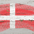 Flag of denmark on grunge wooden texture painted with chalk — Stock Photo