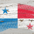 Flag of panama on grunge wooden texture painted with chalk — Stock Photo