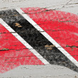 Flag of trinidad and tobago on grunge wooden texture painted wit — Stock Photo