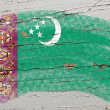 Stock Photo: Flag of turkmeniston grunge wooden texture painted with chalk