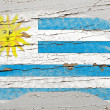 Flag of uruguay on grunge wooden texture painted with chalk - Stock Photo