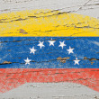 Flag of venezuela on grunge wooden texture painted with chalk - Стоковая фотография