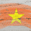 Flag of vietnam on grunge wooden texture painted with chalk - Стоковая фотография
