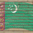 Flag of turkmenistan on grunge brick wall painted with chalk - Стоковая фотография