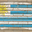 Flag of uruguay on grunge brick wall painted with chalk — ストック写真