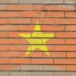 Flag of vietnam on grunge brick wall painted with chalk — ストック写真