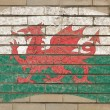 Flag of wales on grunge brick wall painted with chalk — Foto de Stock
