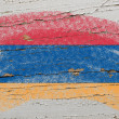 Flag of armenia on grunge wooden texture painted with chalk - Стоковая фотография