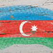 Flag of azerbaijan on grunge wooden texture painted with chalk - Lizenzfreies Foto