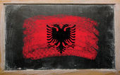 Flag of Albania on blackboard painted with chalk — Stock Photo