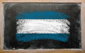 Flag of El Salvador on blackboard painted with chalk — Stock Photo