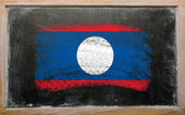 Flag of laos on blackboard painted with chalk — Stock Photo