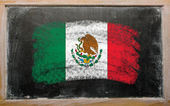 Flag of mexico on blackboard painted with chalk — Stock Photo