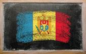Flag of moldova on blackboard painted with chalk — Stock Photo