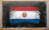 Flag of paraguay on blackboard painted with chalk — Stock Photo