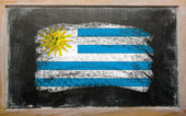 Flag of uruguay on blackboard painted with chalk — Stock Photo