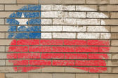 Flag of chile on grunge brick wall painted with chalk — Stock Photo