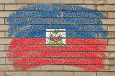 Flag of Haiti on grunge brick wall painted with chalk — Stock Photo