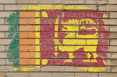 Flag of srilanka on grunge brick wall painted with chalk — Stock Photo