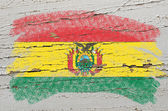 Flag of bolivia on grunge wooden texture painted with chalk — Stock Photo