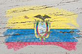 Flag of ecuador on grunge wooden texture painted with chalk — Stock Photo
