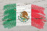 Flag of mexico on grunge wooden texture painted with chalk — Stock Photo