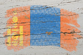 Bandera de mongolia en una textura de madera grunge pintado con tiza — Foto de Stock