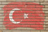 Bandeira da turquia na parede de tijolo de grunge pintado com giz — Foto Stock