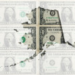 Stock Photo: Outline map of Alaskwith transparent americdollar banknotes
