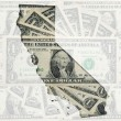 Постер, плакат: Outline map of California with transparent american dollar bankn