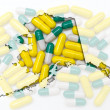Outline Alaska map of with transparent pills in the background — Stock Photo