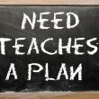 "Stock Photo: Proverb ""Need teaches plan"" written on blackboard"