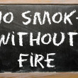 "Proverb ""No smoke without fire"" written on a blackboard — Stock Photo"