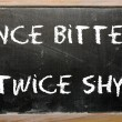 "Stock Photo: Proverb ""Once bitten, twice shy"" written on blackboard"