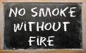 "Proverb ""No smoke without fire"" written on a blackboard — Стоковое фото"