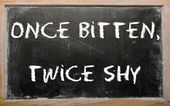 "Proverb ""Once bitten, twice shy"" written on a blackboard — Photo"