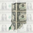 Outline map of Indiana with transparent american dollar banknote - Stock Photo