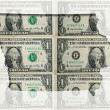 Outline map of Iowa with transparent american dollar banknotes i — Stock Photo