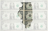 Outline map of Illinois with transparent american dollar banknot — Stock Photo