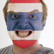 Face of crazy angry man painted in colors of Thailand flag — Stock Photo #7338487