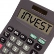 old calculator on white background showing text money in persp — Stock Photo