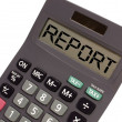 """Old calculator on white background showing text """"report"""" in pers — Stock Photo #7339168"""