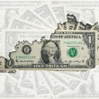 Outline map of Kentucky with transparent american dollar banknot — Stock Photo