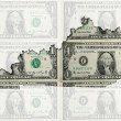 Outline map of Kentucky with transparent american dollar banknot - Stock Photo