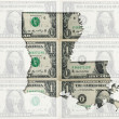 Outline map of luisiana with transparent american dollar banknot — Stock Photo